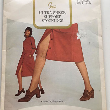 NOS 1970s Sears Ultra Sheer Support Stockings,Vintage Nylons in Mocha Shade, Size B Statuesque (11-12),Thigh High Garter Stockings with RHT