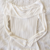Ivory Ribbed Off The Shoulder Top