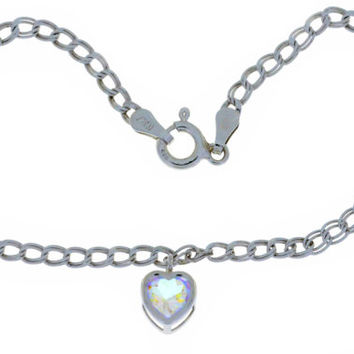 1 Carat Genuine Mercury Mist Topaz Heart Bezel Bracelet .925 Sterling Silver Rhodium Finish White Gold Quality