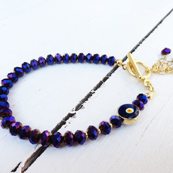 Metallic purple swarovski women bracelet with an evil eye - girl, elegant, jewelry, birthday, christmas, crystal, flower, girl