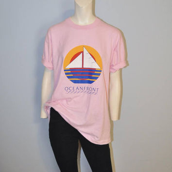 Vintage Oceanfront Sailboat T-Shirt Light Pink Tee Shirt Short Sleeve Tshirt Size XL Screen Stars Best Retro Beach Ocean Art Deco