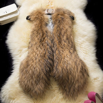 Women Faux Fur Vest Winter Long Vest Sleeveless Luxury  Faux Fur Vest = 1932143620