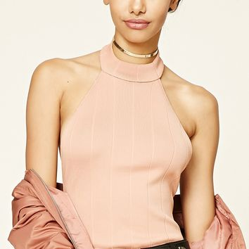 Textured High-Neck Bodysuit