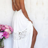 White Halter V-Neck Lace Beach Dress