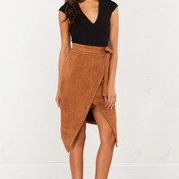 Suede Wrap Midi Skirt in Taupe and Black