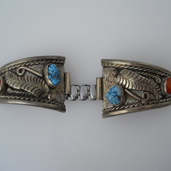 Native American Watch Band Tips Sterling Silver 925 Turquoise Coral Watch Band