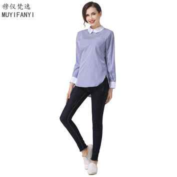2017 Women Blouses and Tops Korean Style Peter pan Collar Striped Long Sleeve Elegant Lady Office Work Wear Shirts