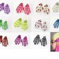 FightingLady 10pcs Hot Sale Skeleton Hands Hair Clips Rockabilly Pin up Zombie Horror Hair Pin (Color By Random)