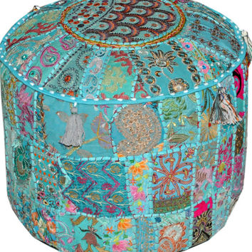 XL Turquoise tufted Pouf Ottoman floor pillow round floor cushion Bean bag bohemian poof pouffe floor pillow floor cushion Pouf Footstools