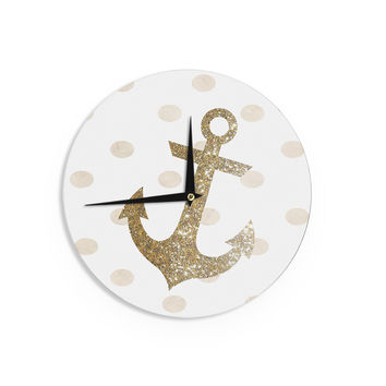 "Nika Martinez ""Glitter Anchor"" Gold Sparkles Wall Clock"