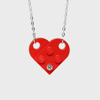 Lego Heart Pendant / Necklace Red Heart by ToyBoxJewellery