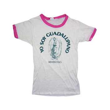 Small Vintage T Shirt / 80s Yo Soy Guadalupano Denver Colorado Healthknit /  Made in USA / 0026TS