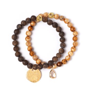 Tess and Tricia Lyra Coco Bronze Stretch Bracelet Set