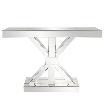 "Mirrored ""X"" Shaped Console Table"
