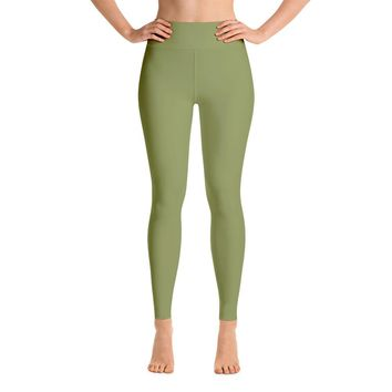 Solid Army Green Yoga Leggings