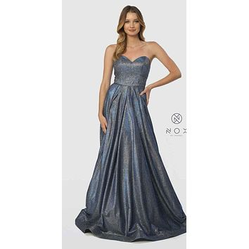 Sweetheart Neck Metallic Strapless Long Prom Gown Royal Blue