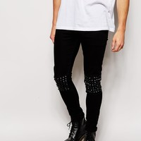 ASOS Super Skinny Jeans With Studded Knee Panels