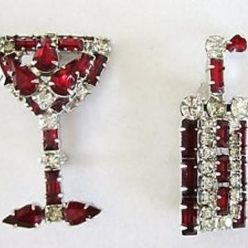 Weiss Rhinestone Martini Cocktail Shaker Glass Pin Set Red Clear