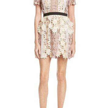Self-Portrait 3D Floral Lace Peplum Dress | Nordstrom