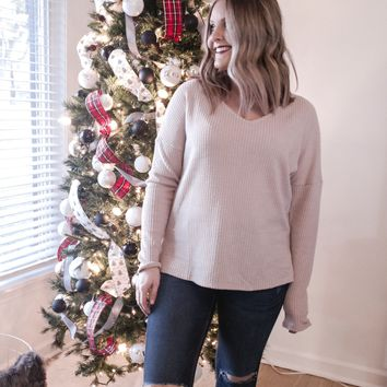 Hallee Dolman Waffle Knit Top-Taupe