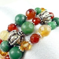 Jade Carnelian Orange Green Gemstone Sterling Beaded Coil Bracelet