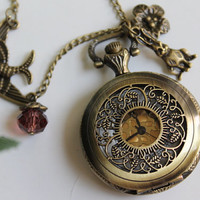 Alice in Wonderland - Vintage Style Filigree flower Pocket Watch Necklace