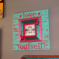 FREE SHIPPING Swans Wall Photo Frame  or Wall Decor - Love Yourself