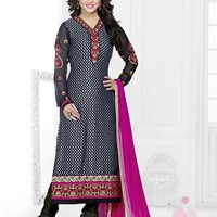Lovely Hina Khan Black Color Brasso Salwar Suit