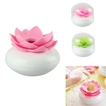 ONETOW 2016 Toothpick Case  Lotus Flower Cotton Bud Holder Toothpick Case Cotton Swab Box Vase Decor