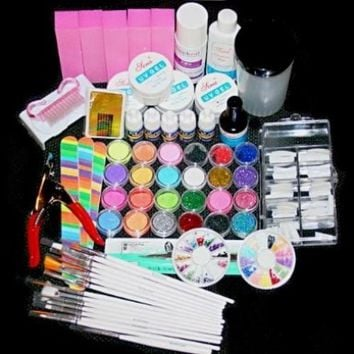 Acrylic Powder Liquid Kits Uv Gel Nail Art Tip Set Dust Stickers Brush