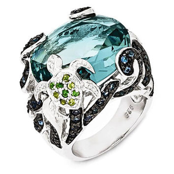 Cheryl M Sterling Silver CZ & Glass Simulated Blue Topaz Turtle Ring