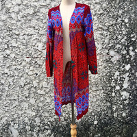 Boho Long Cardigan Mandala Paisley Festival Hippie Gypsy Bohemian Colorful style Dress Top Kimono Beach Cover Up Summer Peacock unique gift