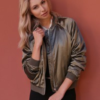West Coast Wardrobe  Make It Happen Bomber Jacket in Olive