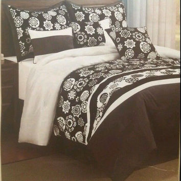 King Comforter Set Black White 7pc Floral Medallion Dena Pattern Soft Microfiber