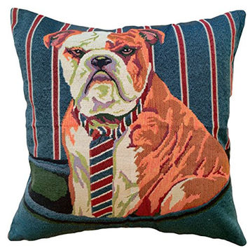 "That's Perfect! Colorful Puppies Decorative Throw Pillow Sham - Fits 18"" x 18"" Insert (Bulldog)"