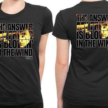 MDIGGW7 Bob Dylan Blowin In The Wind 2 Sided Womens T Shirt