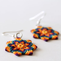 Macramè hippie boho mandala flower earrings orange green purple