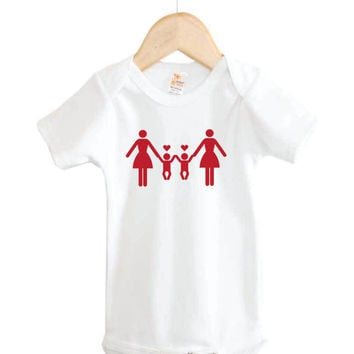 Two Mommies with Twins Onesuit // Equality Baby Onesuit // gay pride // twins