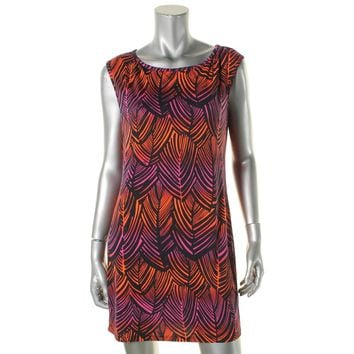 Trina Turk Womens Printed Sleeveless Wear to Work Dress