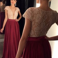 A-Line Prom Dresses,Plunging Neck Evening Dress,Short Sleeve Floor Length Wine Red Dress