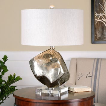 Everly Silver Glass Table Lamp