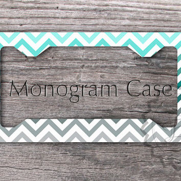 monogrammed license plate frame tiffany blue teal and gray chevron personalized car tag