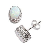 Sterling Silver Lab-Created Opal Oval Crown Stud Earrings (White)