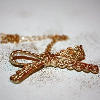 venia - gold dipped lace bow 14k gold necklace by lilla stjarna - sterling silver wire - gifts under 25
