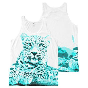 Georgeous Turquoise Leopard on White Background All-Over Print Tank Top