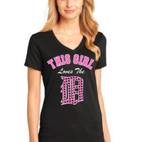 "Pink This Girl Loves the ""D"" heart polka dot printed custom  ladies V neck white and pink Free Shipping"