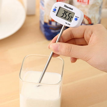 Kitchen Tool Instant Digital LCD BBQ Meat Chocolate Oven Cooking Probe Food Thermometer (Size: One Size, Color: White) = 5658088897