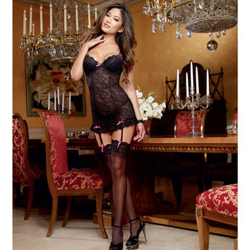 Stretch Lace Underwire Garter Slip W-adjustable & Removable Straps & Thong Black