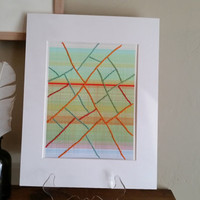Mixed media, Original hand embroidered  abstract generative art  print,  Stitched Lines Orange1, cotton rag paper, Paul Klee inspired