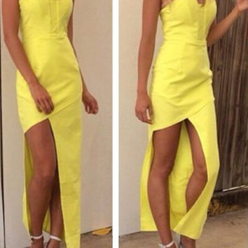 Yellow Backless Strapless Asymmetrical Slit Dress